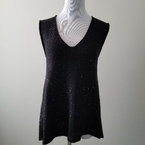 Zara Knit Black Sleeveless Sequin Tunic Sweater M